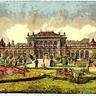 A digital painting of the public gardens and casino, Vienna, Austro-Hungarian Empire by Dennis Melling