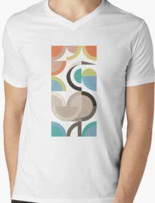 Birds: Crane - Scandinavian Modern Geometric Art Mens V-Neck T-Shirt