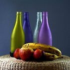 Bottles And Fruit by Jim Wilson