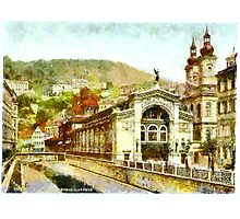 A digital painting of Sprudel Colonnade, Carlsbad, Bohemia, Austro-Hungarian Empire. Photographic Print