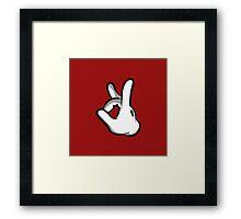Mickey Hands Finger Up Framed Print