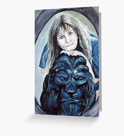 The girl with the lion Greeting Card