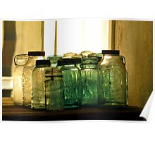 Old Glass Jars and Bottles Poster