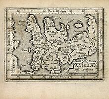 Antique Map of England and Wales from 1603 by bluemonocle