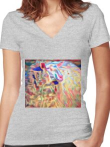 Variegated Yarn Women's Fitted V-Neck T-Shirt