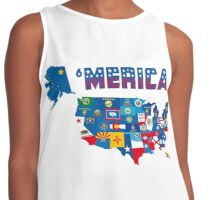 Patriotic America Map With States Flags iPod / iPhone 4  / iPhone 5 Case / Samsung Galaxy Cases  Contrast Tank