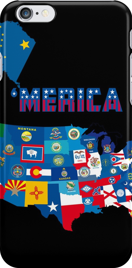 Patriotic America Map With States Flags iPod / iPhone 4  / iPhone 5 Case / Samsung Galaxy Cases  by CroDesign
