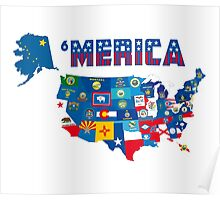Patriotic America Map With States Flags iPod / iPhone 4  / iPhone 5 Case / Samsung Galaxy Cases  Poster