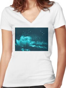 Sparkling peony in cyan blue Women's Fitted V-Neck T-Shirt