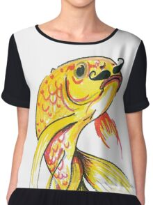 Fish with Moustache Women's Chiffon Top