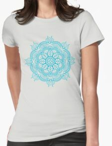 Turquoise Blue Mandala Zendoodle Womens Fitted T-Shirt