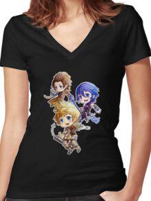 Kingdom Hearts Birth By Sleep: Chibi Women's Fitted V-Neck T-Shirt