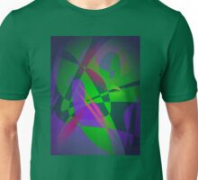 Purple and Green Abstract Composition Smooth Gradation Dark Unisex T-Shirt