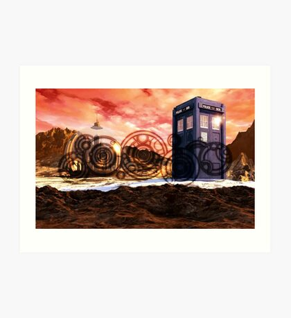 Doctor Who - Tardis, Gallifrey and Doctor's Name Art Print