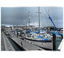 Arbroath Harbour Blue  Poster