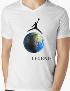 Jordan Jumping over the Earth Mens V-Neck T-Shirt