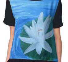 Serene Painted White Lotus Chiffon Top