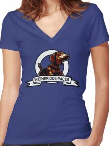 Weiner Dog Races Women's Fitted V-Neck T-Shirt