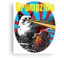 Grumpzilla : Grumpy Cat attacks! Canvas Print