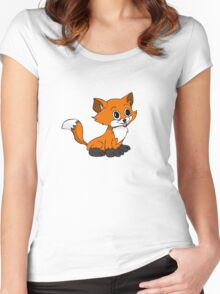 Happy Baby Fox Women's Fitted Scoop T-Shirt