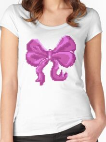 Pretty Pixel Bow Women's Fitted Scoop T-Shirt