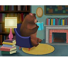 Mister Bear Loves His Books Photographic Print