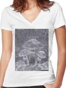 Trippy Mushroom Women's Fitted V-Neck T-Shirt