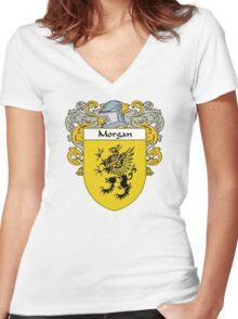 Morgan Coat of Arms/Family Crest Women's Fitted V-Neck T-Shirt
