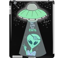 Too Cute For Earth - Black Background iPad Case/Skin