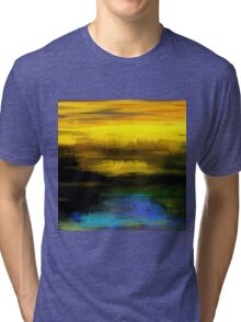 Abstract Yellow Blue #1 Tri-blend T-Shirt