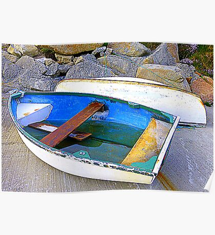 Boats And Boulders Poster