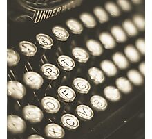 Vintage Typewriter Keys Photographic Print