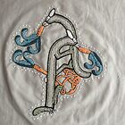 Celtic Rabbit Embroidery Letter A by Donna Huntriss