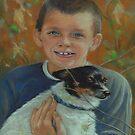 Blue-eyed Boy & Little Terrier by Pam Humbargar
