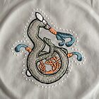 Celtic Rabbit Embroidery Letter B by Donna Huntriss