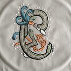 Celtic Rabbit Embroidery Letter C by Donna Huntriss