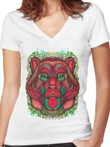 Psychedelic bear Women's Fitted V-Neck T-Shirt
