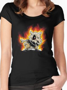 Cubone on fire Women's Fitted Scoop T-Shirt