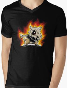 Cubone on fire Mens V-Neck T-Shirt
