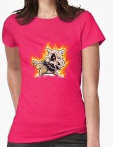 Cubone on fire Womens Fitted T-Shirt