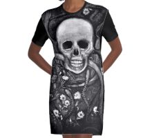 """CHAOS Black and White"" Graphic T-Shirt Dress"