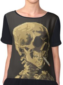 Van Gogh Pixel Art - Skull of a Skeleton with Burning Cigarette Chiffon Top