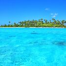Sea In Front Of Palm Trees in French Polynesia by WAMTEES