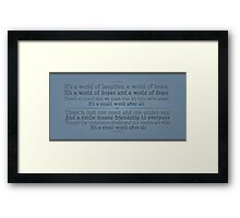 A World of Laughter Framed Print