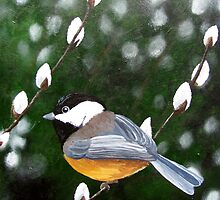 Chickadee and Pussywillows by Jane Thuss