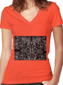 NIKOLA TESLA black hole Women's Fitted V-Neck T-Shirt