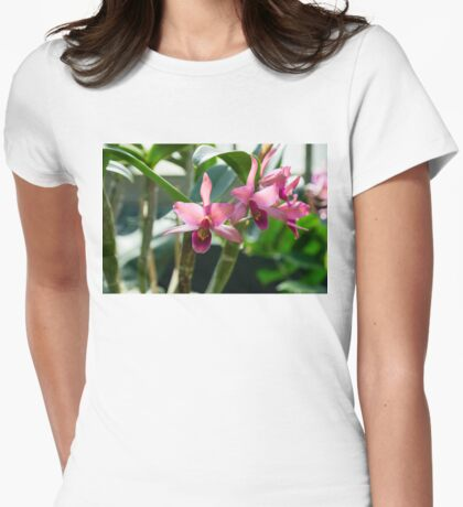 Pink Orchids - Exotic Tropical Glow Womens Fitted T-Shirt