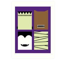 Minimal Monster Mash Art Print