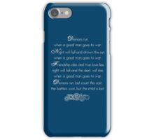 Doctor Who Demons Run poem - white and TARDIS blue iPhone Case/Skin