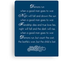 Doctor Who Demons Run poem - white and TARDIS blue Canvas Print